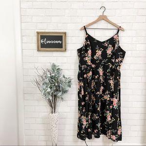 Old Navy New Black Floral Cami Midi Dress